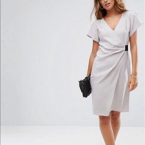 Drape Front Midi Pencil Dress with Elastic Detail